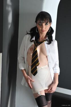 Girlfolio Sexy BlackHead Babes Jessip Black Stockings And A Tie - 02