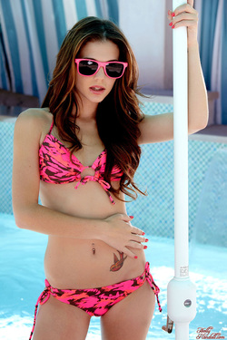 Photo #3 of 15+ | Brunette Cutie Kiera Winters in Pink Bikini for Holly Randall