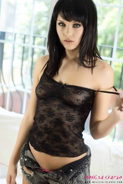 Mellisa Clarke in Lacy Black Top - 03
