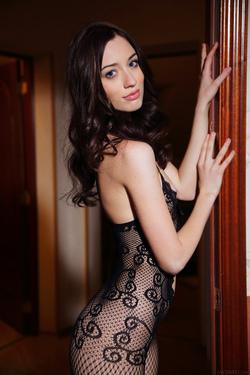 Hot Ass Brunette Zsanett Tormay in Black Fishnet Stockings in Isolato by Arkisi for Metart - 01