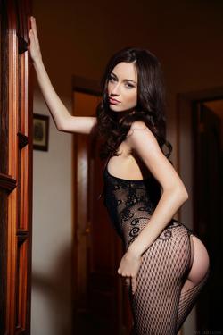Hot Ass Brunette Zsanett Tormay in Black Fishnet Stockings in Isolato by Arkisi for Metart - 02