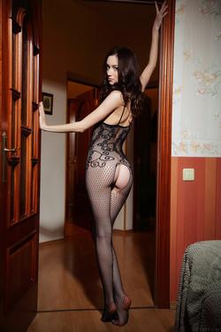 Hot Ass Brunette Zsanett Tormay in Black Fishnet Stockings in Isolato by Arkisi for Metart - 03