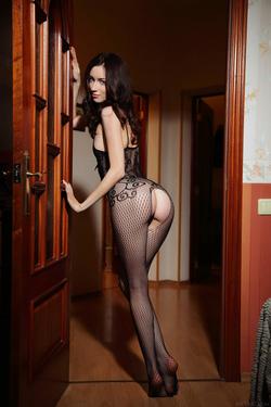 Hot Ass Brunette Zsanett Tormay in Black Fishnet Stockings in Isolato by Arkisi for Metart - 04