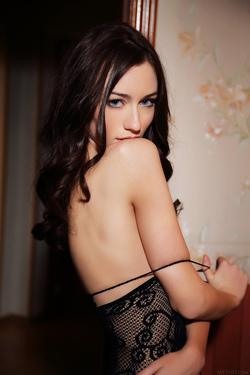 Hot Ass Brunette Zsanett Tormay in Black Fishnet Stockings in Isolato by Arkisi for Metart - 08