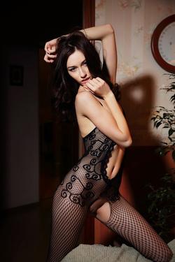 Hot Ass Brunette Zsanett Tormay in Black Fishnet Stockings in Isolato by Arkisi for Metart - 10