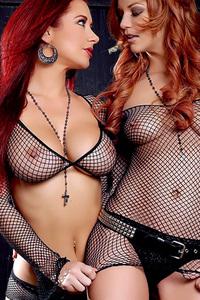 Redhead Pornstars In Fishnet