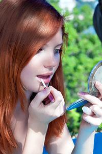 Young Redhead Sindi B Nude Outdoors in Migdiada for Metart