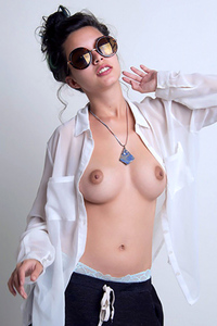 Young Brunette Eden Arya Topless In White Shirt