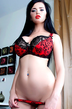 Busty Young Doll Sha Rizel in Red Lingerie and Stockings for Score Land