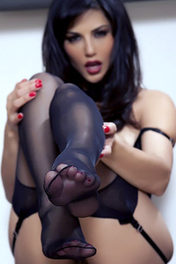 Sunny Leone Plays In Stockings