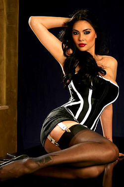 LinkFame Brunette Babes Tera Patrick In A Black Corset And Stockings