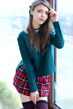 Mila Azul In Hot Mini Skirt And Sweater