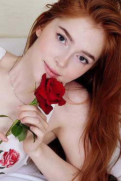 Cute Redhead Jia Lissa Horny For A Rose