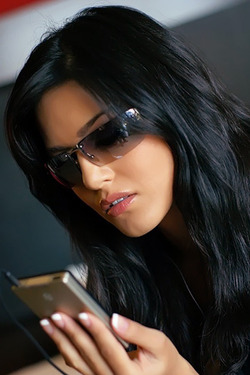 Sunny Leone with iPod